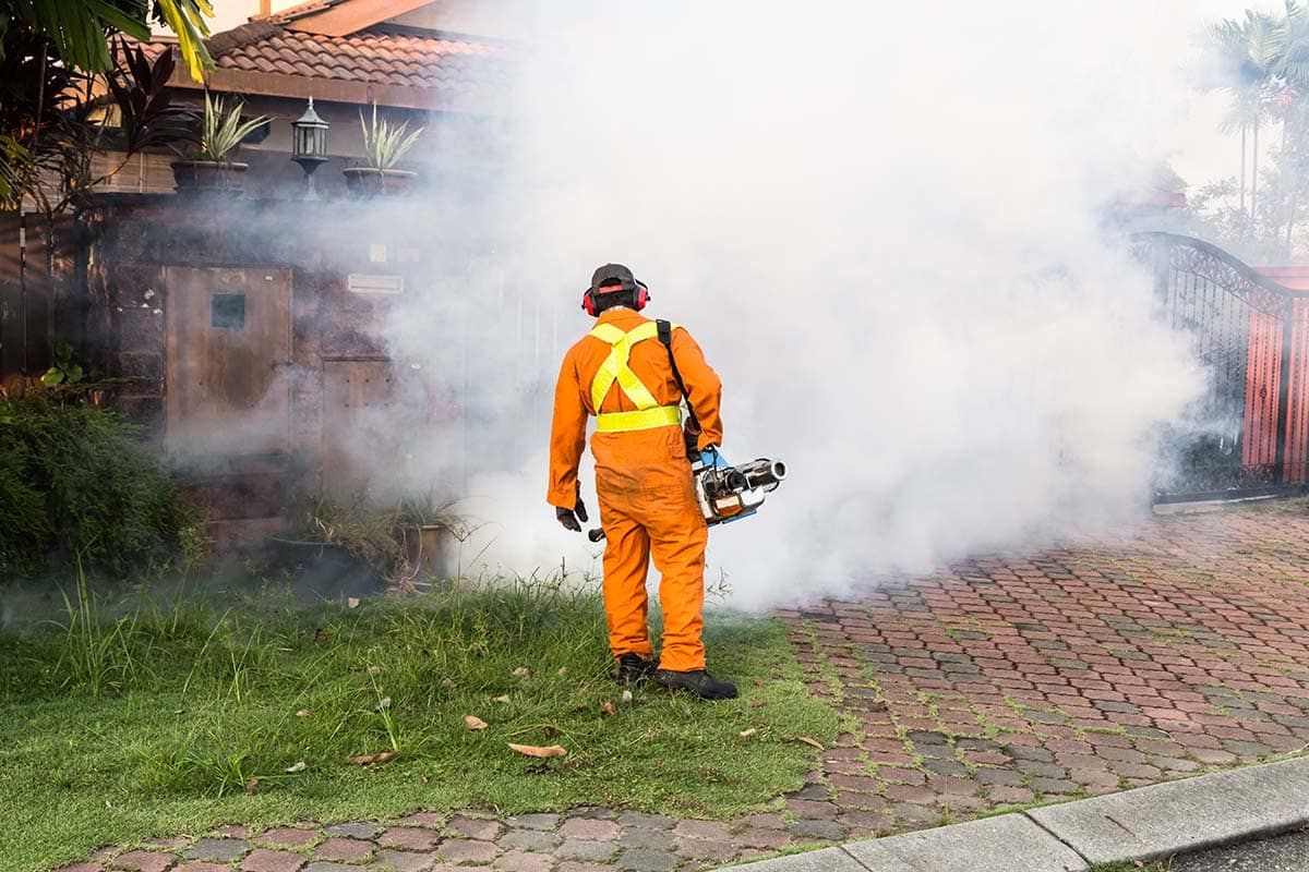 Worker fogging residential area with insecticides to kill mosquito